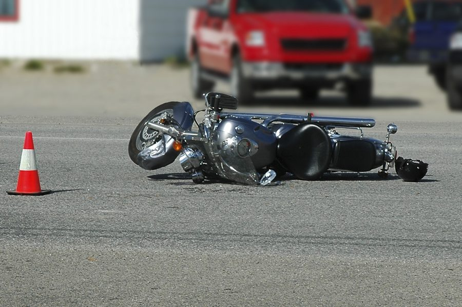 Motorcycle crash scene